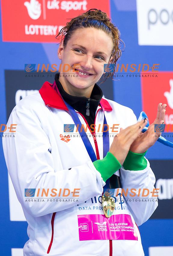 HOSSZU Katinka HUN gold medal<br /> London, Queen Elizabeth II Olympic Park Pool <br /> LEN 2016 European Aquatics Elite Championships <br /> Swimming<br /> Women's 400m medley final <br /> Day 08 16-05-2016<br /> Photo Giorgio Perottino/Deepbluemedia/Insidefoto
