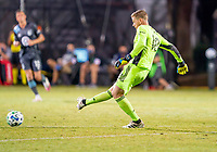 17th July 2020, Orlando, Florida, USA;  Minnesota United goalkeeper Greg Ranjitsingh (18) takes a goal kick during the MLS Is Back Tournament between the Real Salt Lake versus Minnesota United FC on July 17, 2020 at the ESPN Wide World of Sports, Orlando FL.