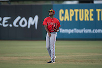 AZL Angels right fielder Trent Deveaux (17) during an Arizona League game against the AZL Athletics at Tempe Diablo Stadium on June 26, 2018 in Tempe, Arizona. The AZL Athletics defeated the AZL Angels 7-1. (Zachary Lucy/Four Seam Images)