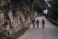 Roman Kreuziger (CZE/ORICA-Scott), Simon Yates (GBR/Michelton-Scott) &amp; Esteban Chavez (COL/Michelton-Scott) returning to the (distant) team bus after the stage<br /> <br /> 76th Paris-Nice 2018<br /> stage 6: Sisteron &gt; Vence (198km)
