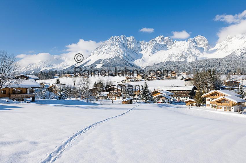 Austria, Tyrol, ski resort Going and Wilder Kaiser Mountains   Oesterreich, Tirol, Kaiserwinkl, Going vor dem Wilden Kaiser Gebirge