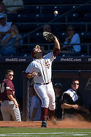 First baseman Jack Posey #5 of the Florida State Seminoles settles under a foul pop fly at Durham Bulls Athletic Park May 20, 2009 in Durham, North Carolina. (Photo by Brian Westerholt / Four Seam Images)