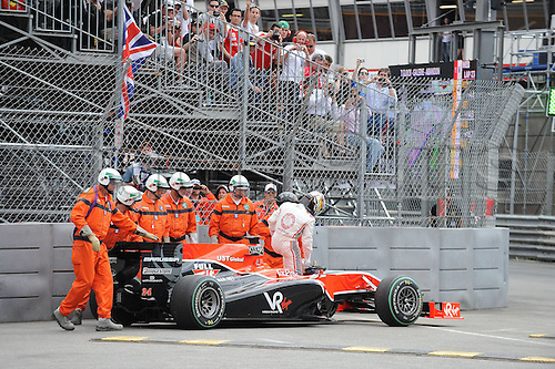 16 05 2010  Pictures shows the Failure of Timo Glock Virgin Racing Cosworth car. Formula 1 GP Monaco  motor racing men Formula 1  World Cup GP Monaco Monte Carlo