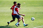Getafe's Bruno Gonzalez (r) and Angel Rodriguez during training session. September 12,2017.(ALTERPHOTOS/Acero)