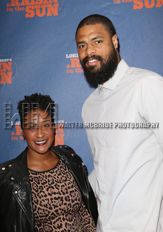 Kimberly Chandler and Tyson Chandler attending the Broadway Opening Night Performance of 'A Raisin In The Sun'  at the Barrymore Theatre on April 3, 2014 in New York City.