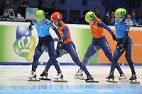 SHORTTRACK: DORDRECHT: Sportboulevard Dordrecht, 24-01-2015, ISU EK Shorttrack Finish 500m Men Final A, Victor AN (RUS | #60), Sjinkie KNEGT (NED | #1), Freek VAN DER WART (NED | #52), Semen ELISTRATOV (RUS | #61), ©foto Martin de Jong