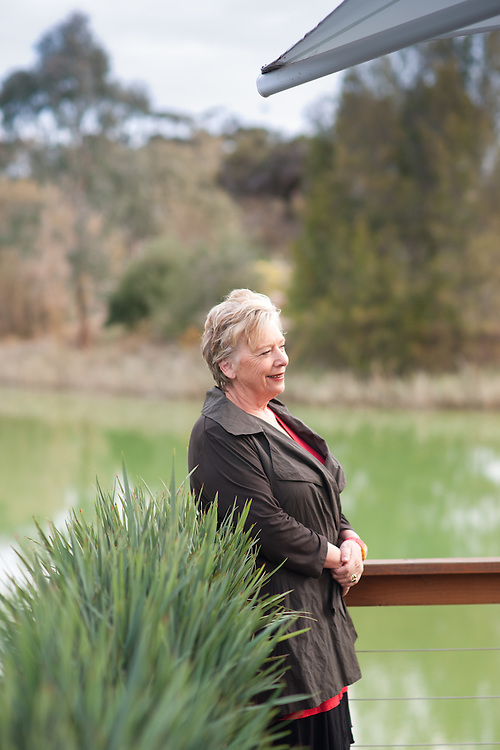 Adelaides celebrity cook, Maggie Beer at the Farm shop lake.