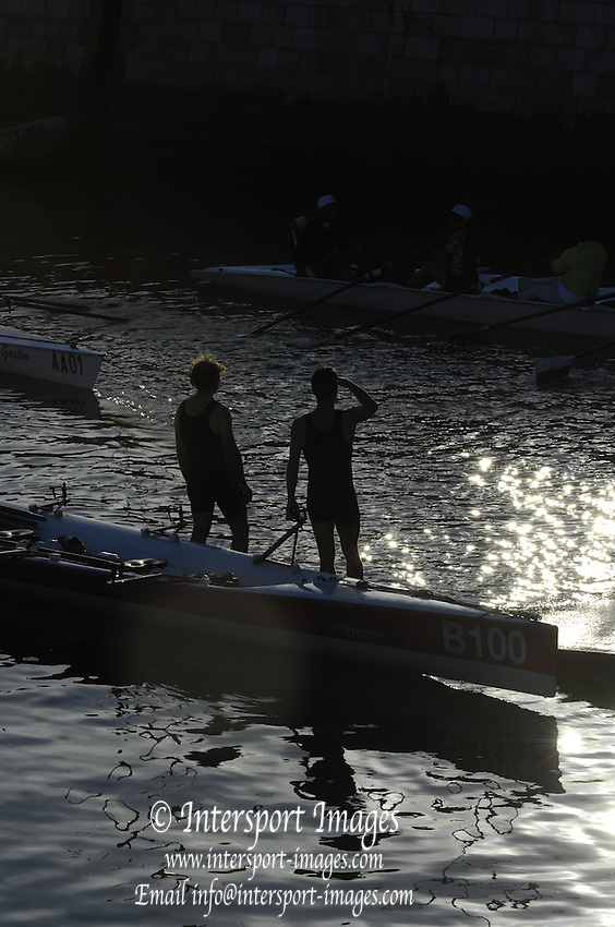 Le Havre, FRANCE, competing at the French and International, Coastal Rowing Championships. 13/10/2006. [Photo, Peter Spurrier/Intersport-images].....[Mandatory Credit Peter Spurrier/ Intersport Images] French, National and International Coastal Rowing Championships, Le Havre. FRANCE , Sunrise, Sunsets, Silhouettes