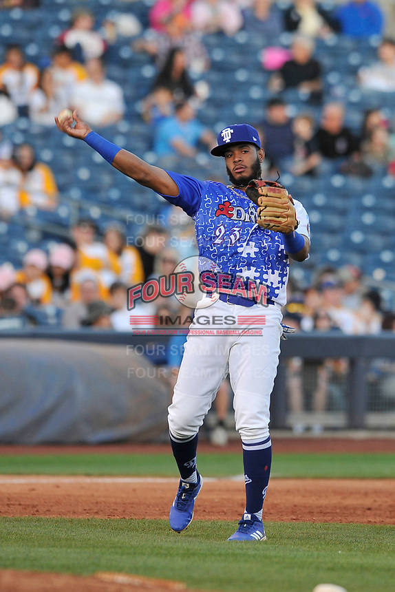 Tulsa Drillers third baseman Cristian Santana (23) in action against the Corpus Christi Hooks at Oneok Stadium on May 4, 2019 in Tulsa, Oklahoma.  The Hooks won 9-7.  (Dennis Hubbard/Four Seam Images)