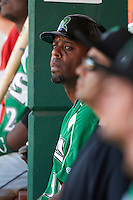 Dayton Dragons manager Delino DeShields #90 in the dugout during a Midwest League game against the Fort Wayne TinCaps at Parkview Field on August 19, 2012 in Fort Wayne, Indiana.  Dayton defeated Fort Wayne 5-1.  (Mike Janes/Four Seam Images)