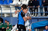 MARBELLA  - Voetbal, Club Brugge - FC Groningen, Trainingskamp , seizoen 2017-2018, 10-01-2018,  FC Groningen speler David Browne in duel met Timmy Simons
