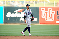 Ildemaro Vargas (1) of the Reno Aces on defense against the Salt Lake Bees in Pacific Coast League action at Smith's Ballpark on June 15, 2017 in Salt Lake City, Utah. The Aces defeated the Bees 13-5. (Stephen Smith/Four Seam Images)