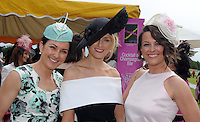 Pictured enjoying the summer fayre on the Ross Hotel / Lane Bar Champagne &amp; Cocktail Marquee at Killarney Races ladies Day on Thursday were from left, Sinead Tyrrell, Annemarie Phelan and Ciara Gillick, Killarney.<br /> Picture by Don MacMonagle<br /> <br /> <br /> PR Photo from Ross Hotel