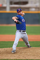 Texas Rangers pitcher Sam Stafford (40) during an instructional league game against the Los Angeles Angels / Chicago Cubs co-op team on October 5, 2015 at the Surprise Stadium Training Complex in Surprise, Arizona.  (Mike Janes/Four Seam Images)
