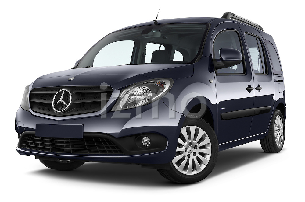 Stock pictures of low aggressive front three quarter view of a 2015 Mercedes Benz Citan 109 Cdi 5 Places 5 Door Passenger Van Low Aggressive