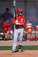 Los Angeles Angels Jared Foster (28) during an instructional league game against the Oakland Athletics on October 9, 2015 at the Tempe Diablo Stadium Complex in Tempe, Arizona.  (Mike Janes/Four Seam Images)