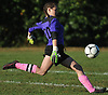 Aubrey Gunther, North Babylon goalie, kicks a ball upfield during a Suffolk County varsity girls soccer game against Deer Park at North Babylon High School on Wednesday, Oct. 4, 2017. North Babylon won by a score of 2-1.