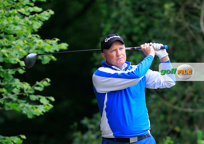 Michael Barrett (Slievenamon) on the 18th tee during Round 3 of the Irish Mid-Amateur Open Championship at New Forest on Sunday 21st June 2015.<br /> Picture:  Thos Caffrey / www.golffile.ie