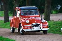 An old red Citroen 2CV 2 CV car with a smiling woman driving, Elisa Trabal de Bouza owner Bodega Bouza Winery, Canelones, Montevideo, Uruguay, South America