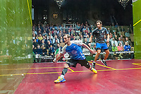 Ramy Ashour (EGY) vs. Gregory Gaultier (FRA) in the men's finals of the 2014 METROsquash Windy City Open held at the University Club of Chicago in Chicago, IL on March 3, 2014
