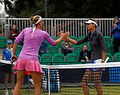 June 12th 2017,  Nottingham, England; WTA Aegon Nottingham Open Tennis Tournament day 1; Yanina Wickmayer of Belgium and Elizaveta Kulichkova of Russia shake hands after Wickmayer won 6-4 6-4