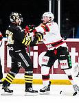 Stockholm 2014-10-14 Ishockey Hockeyallsvenskan AIK - Malm&ouml; Redhawks :  <br /> Malm&ouml; Redhawks Frederik Storm i br&aring;k med AIK:s Patric Blomdahl under matchen mellan AIK och Malm&ouml; Redhawks <br /> (Foto: Kenta J&ouml;nsson) Nyckelord:  AIK Gnaget Hockeyallsvenskan Allsvenskan Hovet Johanneshov Isstadion Malm&ouml; Redhawks slagsm&aring;l br&aring;k fight fajt gruff