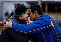 Manawatu Rugby chief executive Shannon Paku hongis BOP's Tanerau Latimer during Game of Three Halves pre-season rugby match at Taihape Domain in Taihape, New Zealand on Friday, 27 July 2018. Photo: Dave Lintott / lintottphoto.co.nz