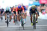 Dutch National Champion Dylan Groenewegen (NED) Lotto NL-Jumbo outsprints Caleb Ewan (AUS) Orica-Scott to win Stage 1 of the Tour de Yorkshire 2017 running 174km from Bridlington to Scarborough, England. 28th April 2017. <br /> Picture: ASO/A.Broadway | Cyclefile<br /> <br /> <br /> All photos usage must carry mandatory copyright credit (&copy; Cyclefile | ASO/A.Broadway)