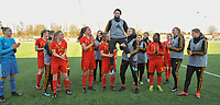 20180326 - ZALTBOMMEL , THE NETHERLANDS : Belgian players celebrating the birthday of Frieke Temmerman (M) pictured after the UEFA Women Under 17 Elite round game between Belgium WU17 and Romania WU17, on the second matchday in group 1 of the Uefa Women Under 17 elite round in The Netherlands , monday 26 th March 2018 . PHOTO SPORTPIX.BE    DIRK VUYLSTEKE