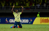 PEREIRA - COLOMBIA, 30-01-2020: Ivan Angulo de Colombia celebra después del partido entre Colombia U-23 y Chile U-23 de la fecha 5, grupo A, del CONMEBOL Preolímpico Colombia 2020 jugado en el estadio Hernán Ramírez Villegas de Pereira, Colombia. / Ivan Angulo of Colombia celebrates after the match between Colombia U-23 and Chile U-23 of the date 5, group A, for the CONMEBOL Pre-Olympic Tournament Colombia 2020 played at Hernan Ramirez Villegas stadium in Pereira, Colombia. Photo: VizzorImage / Cristian Alvarez / Cont