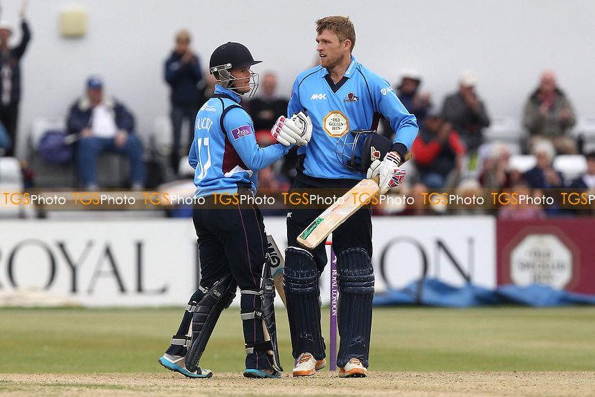 Ben Duckett (L) of Northants congratulates David Willey on his century - Northamptonshire Steelbacks vs Essex Eagles - Royal London One-Day Cup at the County Ground, Northampton - 21/08/14 - MANDATORY CREDIT: Gavin Ellis/TGSPHOTO - Self billing applies where appropriate - contact@tgsphoto.co.uk - NO UNPAID USE