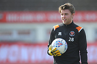 Blackpool's Jack Sims during the pre-match warm-up <br /> <br /> Photographer Kevin Barnes/CameraSport<br /> <br /> The EFL Sky Bet League One - Fleetwood Town v Blackpool - Saturday 7th March 2020 - Highbury Stadium - Fleetwood<br /> <br /> World Copyright © 2020 CameraSport. All rights reserved. 43 Linden Ave. Countesthorpe. Leicester. England. LE8 5PG - Tel: +44 (0) 116 277 4147 - admin@camerasport.com - www.camerasport.com