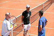 May 25th 2017, Roland Garros, Paris, France; French Open Tennis championships; Novak Djokovic (SER) practises with new coach Andre Agassi