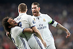 Real Madrid's Marcelo Vieira (l), Toni Kroos (c) and Sergio Ramos celebrate goal during Champions League 2016/2017 Round of 16 1st leg match. February 15,2017. (ALTERPHOTOS/Acero)