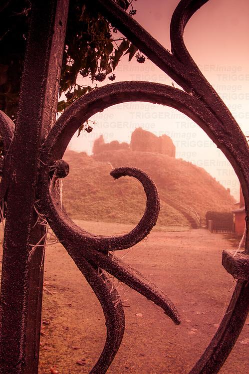 Decorative iron gates at Eye castle in Suffolk England