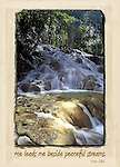Inspirational photo of waterfall in Ocho Rios, Jamaica with Bible verse
