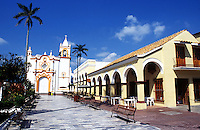 The marble plaza of Tlacotalpan. The colonial port of Tlacotalpan is one of the best preserved small cities in mexico, it has been declared a World Heritage town.  It is also the epicenter of the Cuban-Spanish influenced  Son Jarocho music.