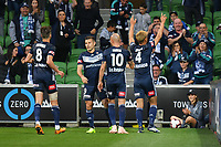 Melbourne, 11 November 2018 &ndash; Keisuke Honda of Melbourne Victory<br /> celebrates after scoring a goal in the round four match of the A-League between Melbourne Victory and Central Coast Mariners at AAMI Park, Melbourne, Australia.