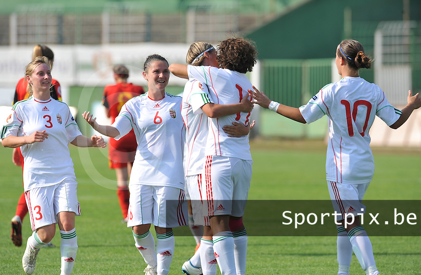 Hungary - Hongarije : UEFA Women's Euro Qualifying group stage (Group 3) - 20/06/2012 - 17:00 - szombathely  - : Hungary ( Hongarije ) - BELGIUM ( Belgie) :.vreugde en blijdschap bij Hongarije door de gelijkmaker.foto DAVID CATRY / JOKE VUYLSTEKE / Vrouwenteam.be.