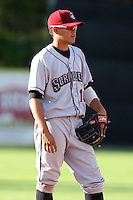 Mahoning Valley Scrappers third baseman Giovanny Urshela (10) during a game vs. the Jamestown Jammers at Russell Diethrick Park in Jamestown, New York June 20, 2010.   Mahoning Valley defeated Jamestown 9-2.  Photo By Mike Janes/Four Seam Images