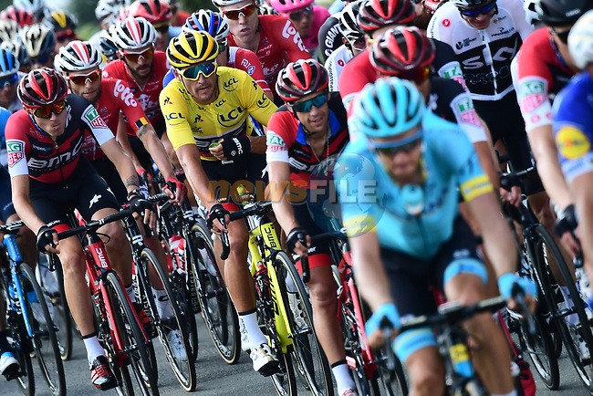 Race leader Yellow Jersey Greg Van Avermaet (BEL) BMC Racing Team in the peloton during Stage 6 of the 2018 Tour de France running 181km from Brest to Mur-de-Bretagne Guerledan, France. 12th July 2018. <br /> Picture: ASO/Alex Broadway | Cyclefile<br /> All photos usage must carry mandatory copyright credit (© Cyclefile | ASO/Alex Broadway)