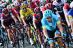 Race leader Yellow Jersey Greg Van Avermaet (BEL) BMC Racing Team in the peloton during Stage 6 of the 2018 Tour de France running 181km from Brest to Mur-de-Bretagne Guerledan, France. 12th July 2018. <br /> Picture: ASO/Alex Broadway | Cyclefile<br /> All photos usage must carry mandatory copyright credit (&copy; Cyclefile | ASO/Alex Broadway)