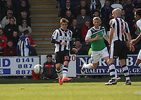 Graham Carey passing in the St Mirren v Hibernian Clydesdale Bank Scottish Premier League match played at St Mirren Park, Paisley on 29.4.12.