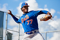 GCL Mets pitcher Michel Otanez (77) warms up in the bullpen before a game against the GCL Cardinals on August 6, 2018 at Roger Dean Chevrolet Stadium in Jupiter, Florida.  GCL Cardinals defeated GCL Mets 6-3.  (Mike Janes/Four Seam Images)