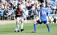 Burnley's Aaron Lennon under pressure from Leicester City's Adrien Silva<br /> <br /> Photographer Rich Linley/CameraSport<br /> <br /> The Premier League - Burnley v Leicester City - Saturday 14th April 2018 - Turf Moor - Burnley<br /> <br /> World Copyright &copy; 2018 CameraSport. All rights reserved. 43 Linden Ave. Countesthorpe. Leicester. England. LE8 5PG - Tel: +44 (0) 116 277 4147 - admin@camerasport.com - www.camerasport.com