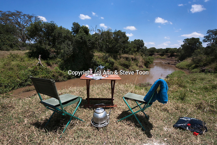 Unfenced campsite at Hippo Hide overlooking river, Ol Pejeta conservancy, Laikipia, Kenya, September 2012