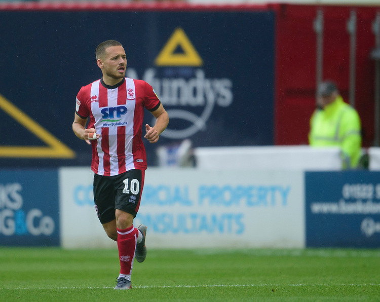 Lincoln City's Jack Payne<br /> <br /> Photographer Andrew Vaughan/CameraSport<br /> <br /> The EFL Sky Bet League One - Lincoln City v Fleetwood Town - Saturday 31st August 2019 - Sincil Bank - Lincoln<br /> <br /> World Copyright © 2019 CameraSport. All rights reserved. 43 Linden Ave. Countesthorpe. Leicester. England. LE8 5PG - Tel: +44 (0) 116 277 4147 - admin@camerasport.com - www.camerasport.com