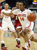 Ohio State Buckeyes guard Ameryst Alston (14) returns the ball in the second half of their game agains the Indiana Hoosiers at the Value City Arena in Columbus, Ohio on January 17, 2013. The Buckeyes beat The Hoosiers 68-45. (Columbus Dispatch photo by Brooke LaValley)