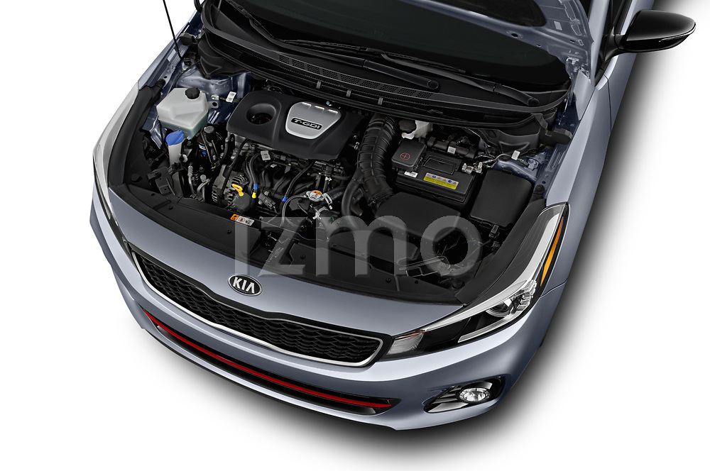 Car Stock 2018 KIA Forte5 SX 5 Door Hatchback Engine  high angle detail view