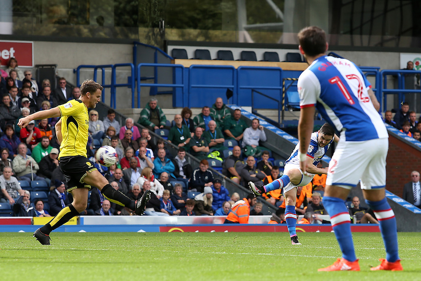 Blackburn Rovers' Craig Conway scores his sides first goal  <br /> <br /> Photographer David Shipman/CameraSport<br /> <br /> Football - The EFL Sky Bet Championship - Blackburn Rovers v Burton Albion - Saturday 20 August 2016 - Ewood Park - Blackburn<br /> <br /> World Copyright &copy; 2016 CameraSport. All rights reserved. 43 Linden Ave. Countesthorpe. Leicester. England. LE8 5PG - Tel: +44 (0) 116 277 4147 - admin@camerasport.com - www.camerasport.com
